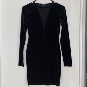 Velvet midi dress with v cute mesh insert on chest